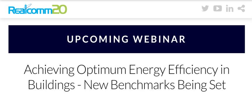 Webinar: Achieving Optimum Energy Efficiency in Buildings – New Benchmarks BeingSet