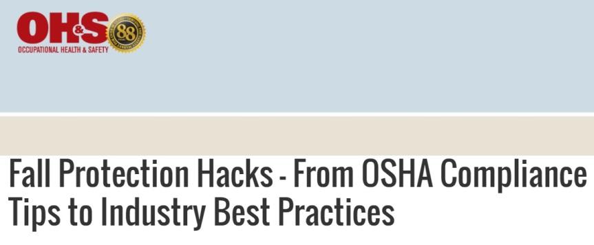 Webinar: Trucos de protección contra caídas –  desde consejos de cumplimiento de OSHA hasta mejoresprácticas